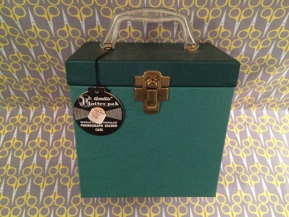 7 Vinyl Record storage box 45RPM Green case tote by VinylJunction