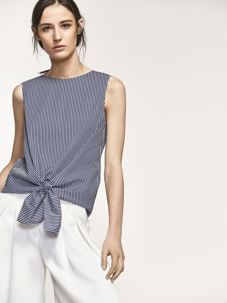 Spring summer 2017 Women´s STRIPED TOP WITH KNOT DETAIL at Massimo Dutti for 39.95. Effortless elegance!