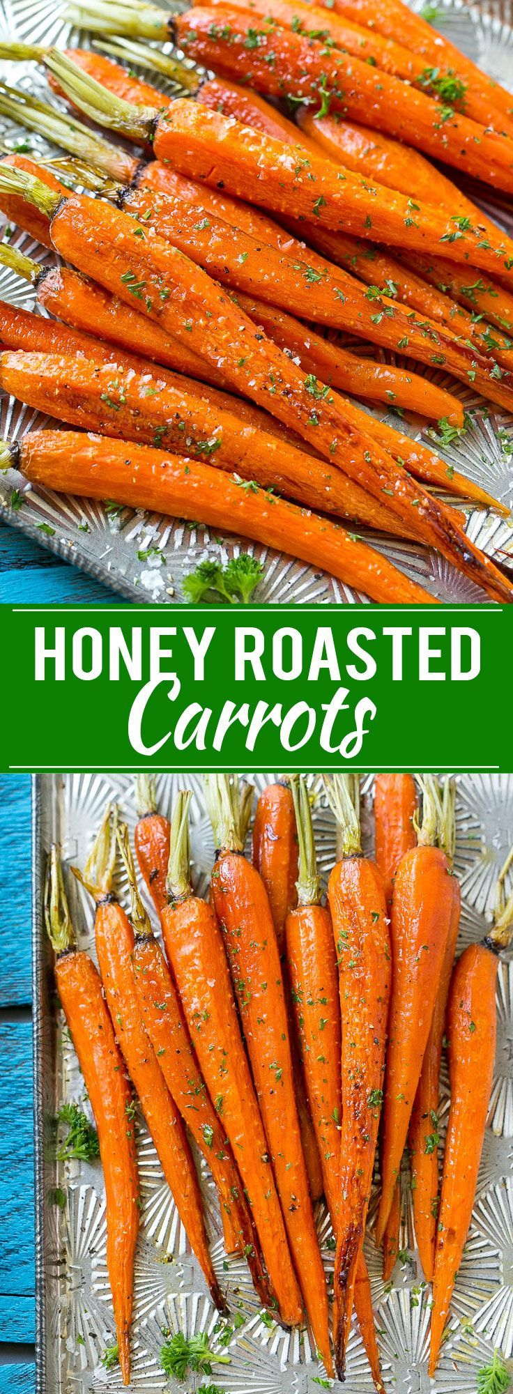 This recipe for honey roasted carrots is whole carrots, bathed in honey and roasted to perfection. | Dinner at the Zoo