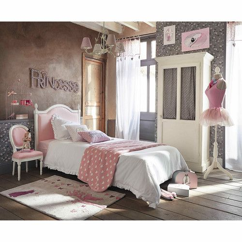 t te de lit enfant en bois et tissu rose l 100 cm tete. Black Bedroom Furniture Sets. Home Design Ideas