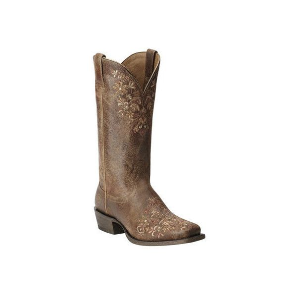 Women's Ariat Ardent Mid Heel Boot ($161) ❤ liked on Polyvore featuring shoes, boots, brown, cowboy boots, brown heeled boots, ariat boots, western cowboy boots, square toe cowgirl boots and square toe boots