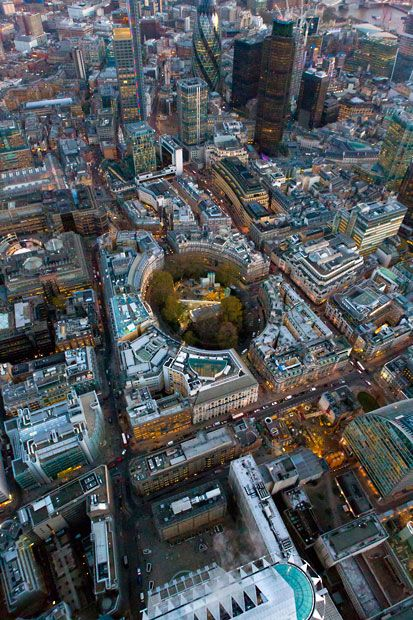 Aerial view of the Liverpool Street Crossrail station shaft at Finsbury Park