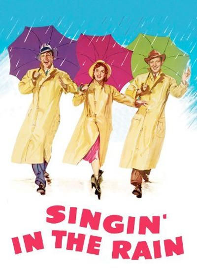 """Singin' in the Rain. I love this film.  I've only seen it a couple of times, but it's just wonderful!  Perhaps I'll add it to my collection as I don't actually own it - this is a great excuse to buy myself some DVDs!  Apparently Gene Kelly had a really high temperature/fever when he did the famous """"Singin' in the Rain"""" scene, but he powered through!  Crazy!"""