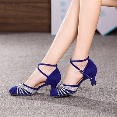moderne kvinners høye hæler cubanske hæl semsket dans sko (flere farger) – NOK kr. 126