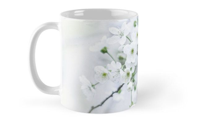 photo, photography, artwork, buy, sale, gift ideas, redbubble, cherry, cherry blossoms, freshness, green leaves, spring flowers, spring trees, tenderness, white flowers, white petals, young, springtime, spring, home decor, comfort, coffee, mug