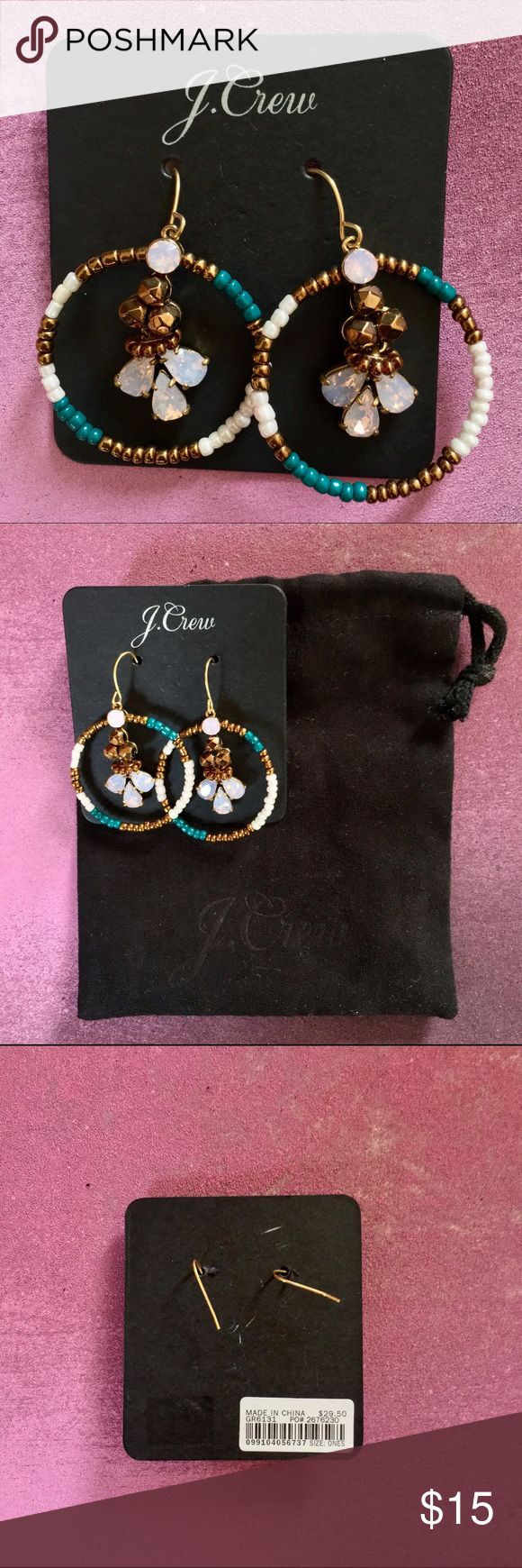 J. Crew Moonstone Crystal Bead Earrings (NWT) Ear candy for all seasons! Brand new, J. Crew earrings featuring sparkling moonstone-like crystals and delicate gold, turquoise, and pearl white beads in an intricate design. Comes with J. Crew jewelry duster bag. Originally purchased at a J. Crew retail store (not outlet). For pierced ears. J. Crew Jewelry Earrings