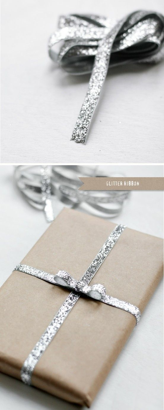 glitter ribbon & brown craft paper. gorgeous way to package christmas gifts.