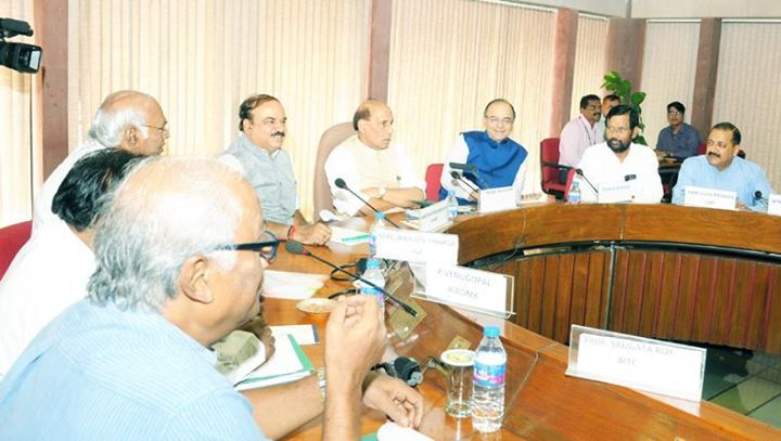 Union Home Minister Rajnath Singh addressing APD meeting at Parliament House in New Delhi.