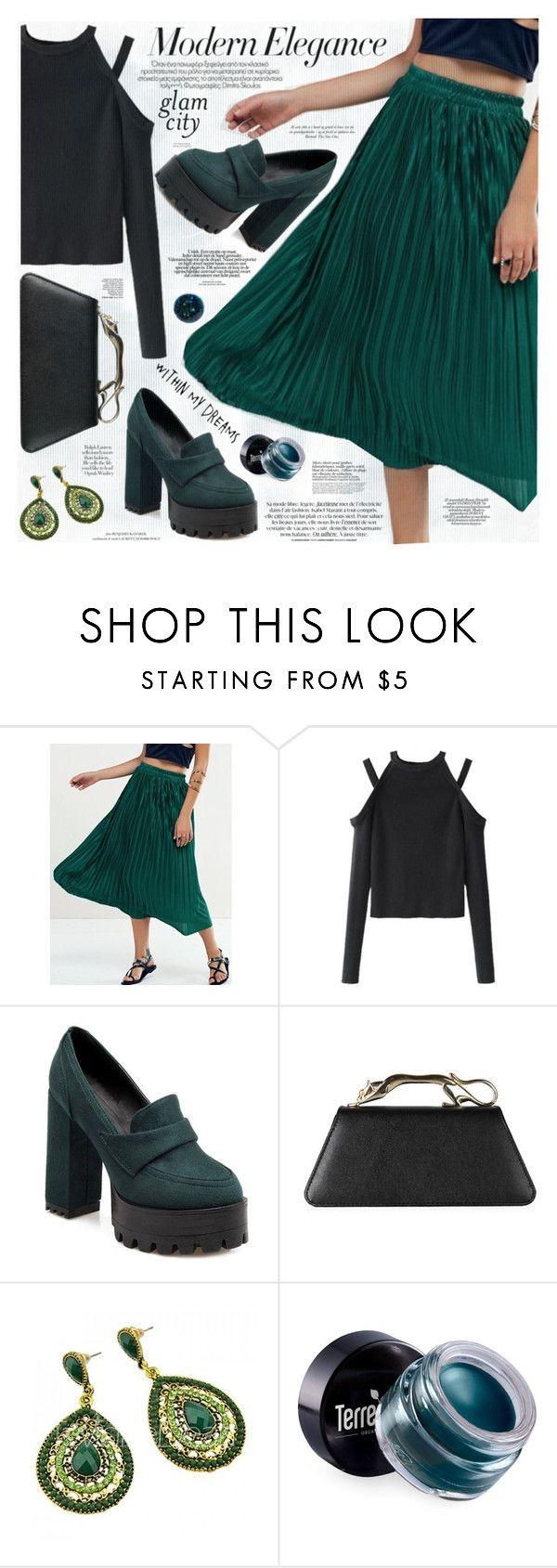 """""""Brief Pleated Midi Skirt"""" by katjuncica ❤ liked on Polyvore featuring Terre Mère, Louis Vuitton, Deborah Lippmann, GREEN, Elegant, pleatedskirt, midiskirt and greenshoes"""