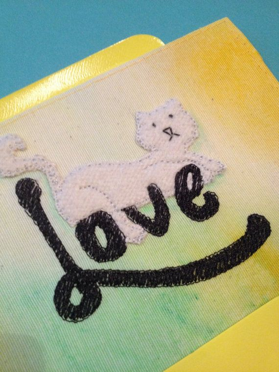 Love Cat embroidery card by BonitoFracaso on Etsy