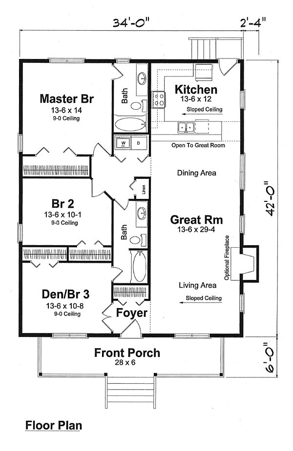 First Floor Plan of Cottage Narrow Lot Traditional Vacation House Plan 74001
