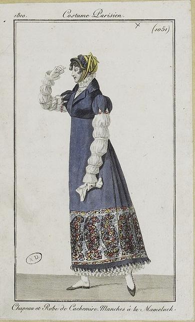 Shawl dress- via Flickr. Costume Parisien ca 1802