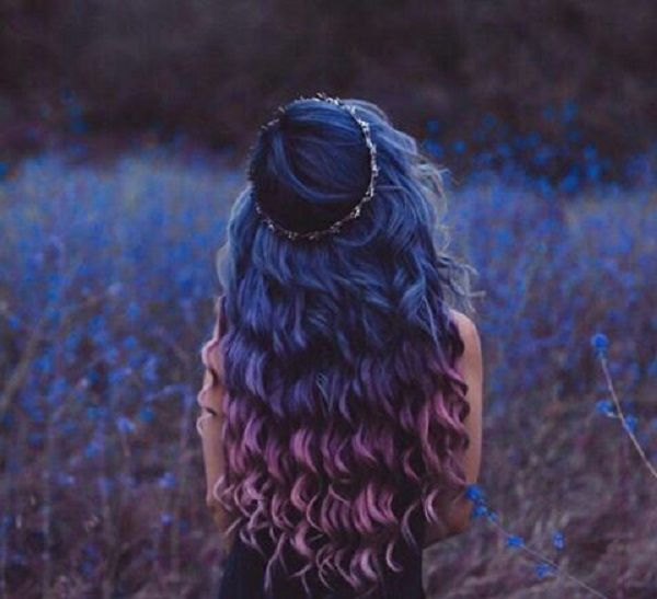 blue purple ombre curly hair inspiration