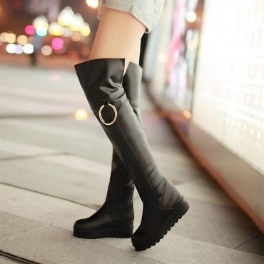 Winter Round Toe Flat Mid Heel Slip On Black Cavalier Boots_Boots_Womens Shoes_LovelyWholesale | Wholesale Shoes,Wholesale Clothing, Cheap Clothes,Cheap Shoes Online. - LovelyWholesale.com