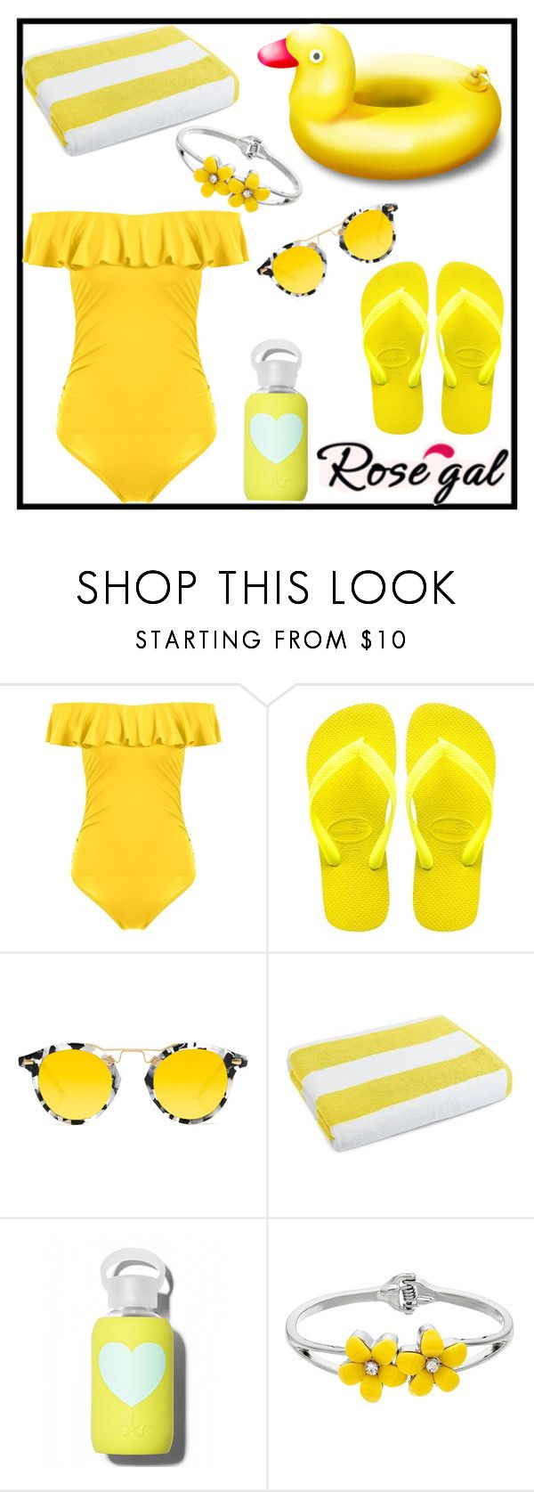 """""""WIN $20 CASH - ROSEGAL Island getaway with ruffles bikini"""" by tlb0318 ❤ liked on Polyvore featuring Havaianas, Krewe, Luxor Linens and bkr"""