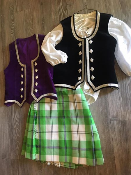 Kiltie with black vest & purple vest (not on dancer) #cunningham #green #tartan