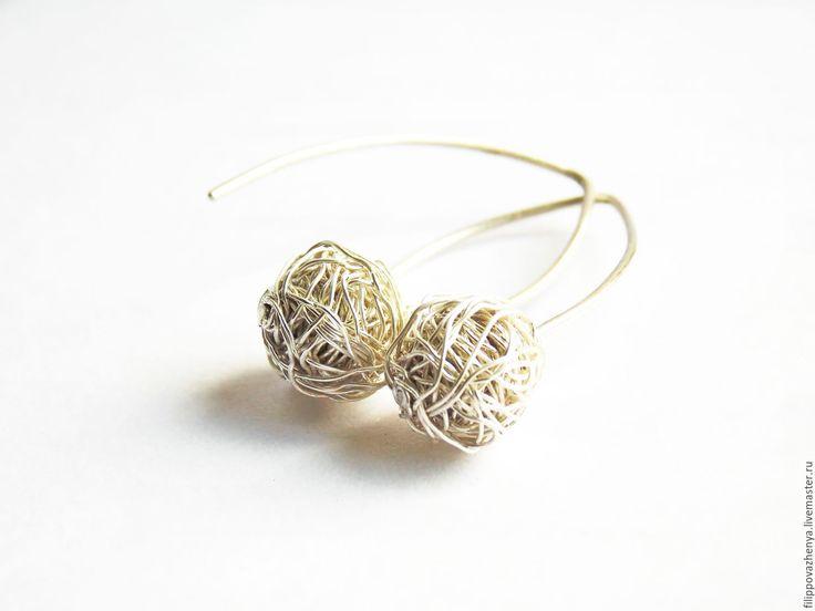 Купить Лаконичные серебряные серёжки - серебряный, серебряные украшения, серебряные серьги, серебряные бусины
