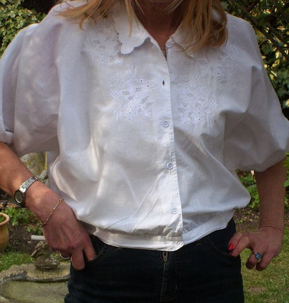 Vintage Bohemian Cropped Cotton Blouse Short by BambleVintage, £17.50