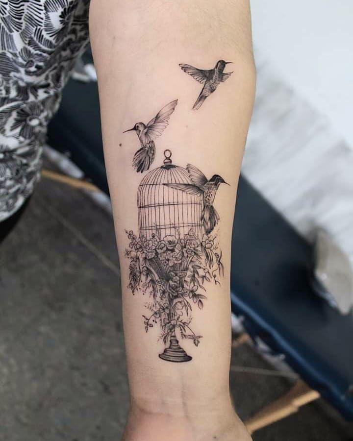 Cage Birdtattoo Finelinetattoo Blacktattoo Blackworktattoo Fineline Flowers Flowerstattoo Colibri Inkedgirl Fine Line Tattoos Tattoos Picture Tattoos