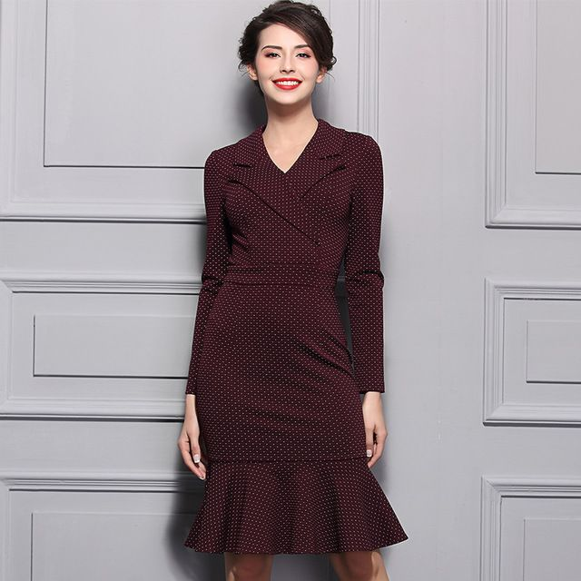 2017 мода элегантный wine red dot ruffled dress женщина полный рукав старинные синий midi тонкий эластичный карандаш dress for working