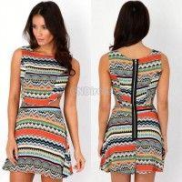 2014 New Hot Spring womens sexy one-piece dress moda vestido Print S-XXL