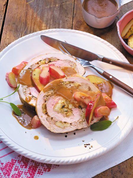 Schweinerollbraten mit Rhabarber und Äpfeln