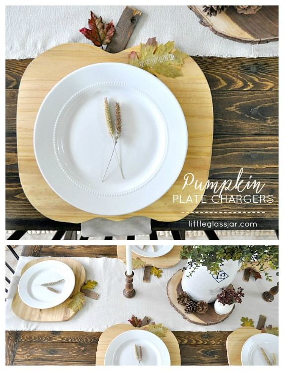 Pumpkin Plate Chargers. Natural wood plate chargers