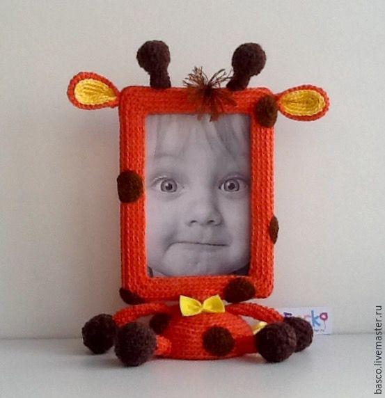 Купить Вязаная рамочка для фото Жираф - рыжий, жираф, жирафик, фоторамка, фоторамка ручной работы