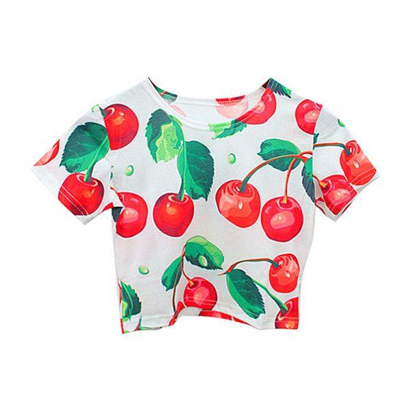 Chicnova Fashion Retro Style Cherry Print Short Sleeves Elastic... found on Polyvore