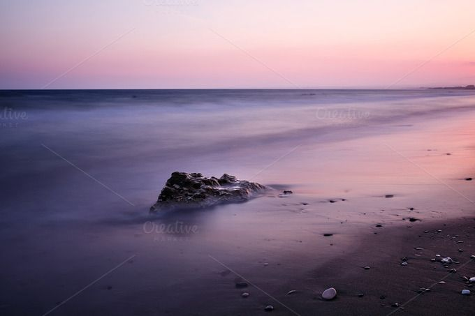 Check out Long exposure sea with rock by odpium on Creative Market