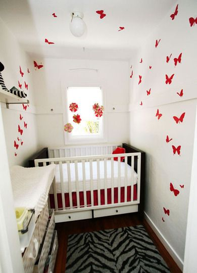 Red butterflies with zebra accents.. :) What a cute idea for a little kid's room