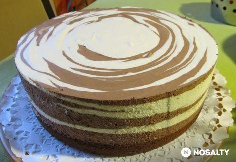 Csíkos tejszínes túrós torta