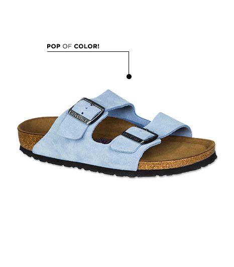 Birkenstock Arizona Soft Footbed Dream Sandals ($130) in Blue Suede