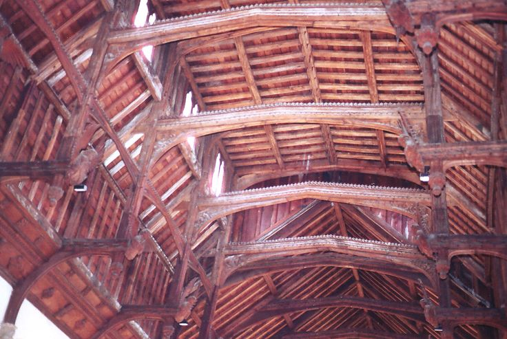 The interior ceiling of the church at Needham Market