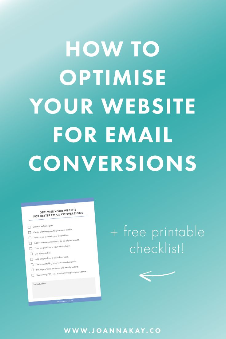 How to Optimise Your Website for Email Conversions, Build your email list, convert email subscribers
