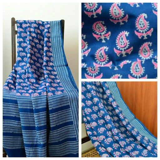 Mulmul hand block printed saree