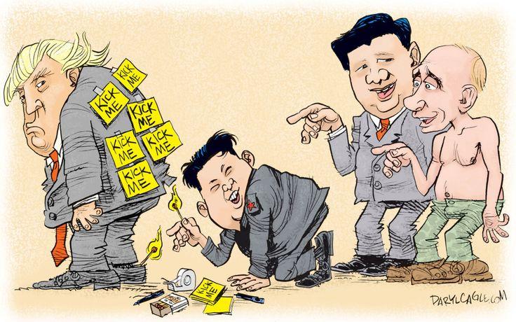 Political cartoon U.S. Trump Kim Jong-un Xi Jinping Putin nuclear missiles