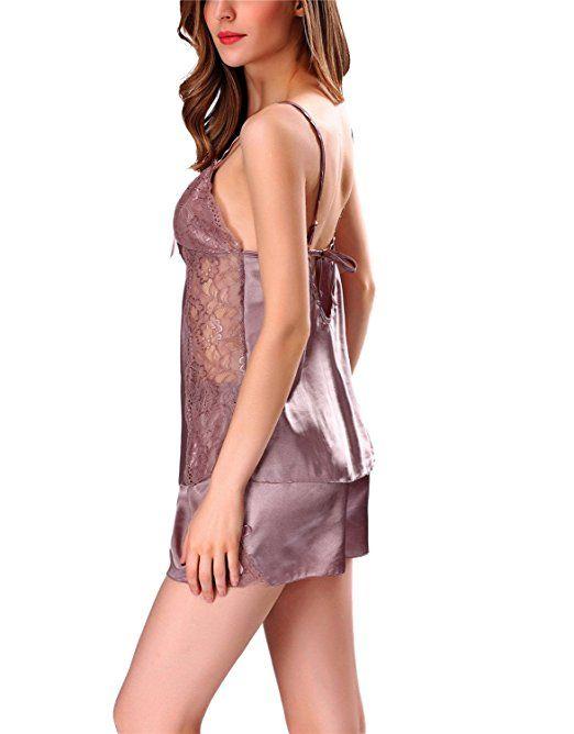 Kissria Women's Sexy lingerie Sleepwear Satin Pajama Cami Set Nightwear S-XXL at Amazon Women's Clothing store: