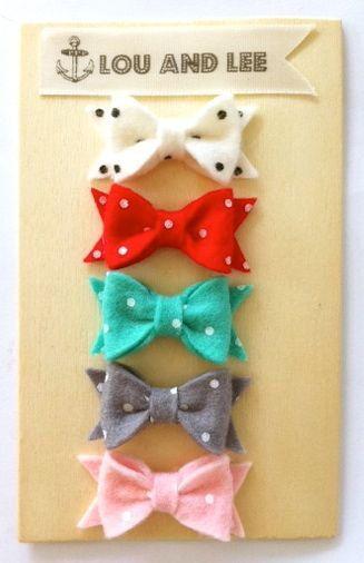 Baby felt bow collection-itty bitty newborn polka dot set. $20.00