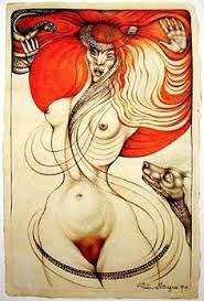 """VALI MYERS (1930-2003) Art by Australian visionary artist, dancer, earth mother, animal lover, bohemian & muse. Well loved in Melbourne with her flaming red hair & tattoos, she would always call out """"Hello love!"""" Her studio was in the fabulous Nicholas building, full of artists, designers & an array of characters. Vali was very approachable & down to earth. There are books & docos on her life. (please follow minkshmink on pinterest) #valimyers #artist #bohemian #fantasyartist #eccentric…"""