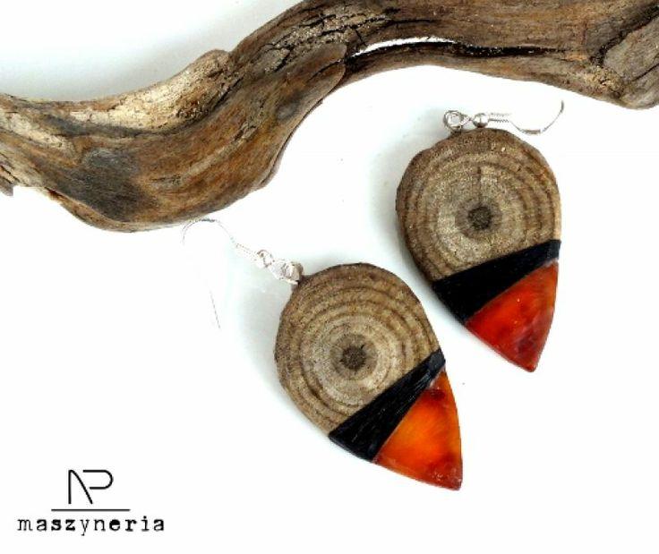 Wood&Amber Kolczyki od Maszyneria  105zl
