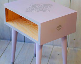 Cabecera mesa mediados siglo moderno muebles mesita de noche sólida mesa de madera estilo escandinavo de niña decoración de la habitación lavanda tabla ALD - 0004P