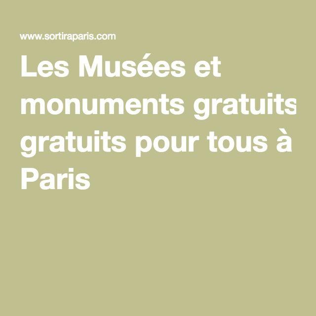 Les Musées et monuments gratuits pour tous à Paris