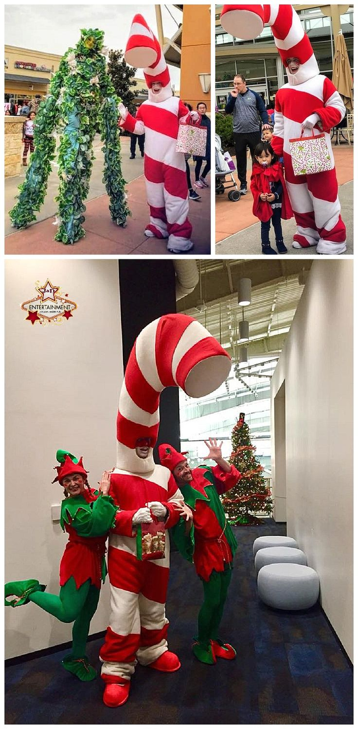 Our giant candy cane character is a hit with kids AND
