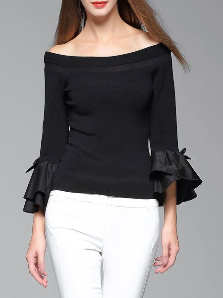 Shop Sweaters - Black Plain Long Sleeve Off Shoulder Sweater online. Discover unique designers fashion at StyleWe.com.