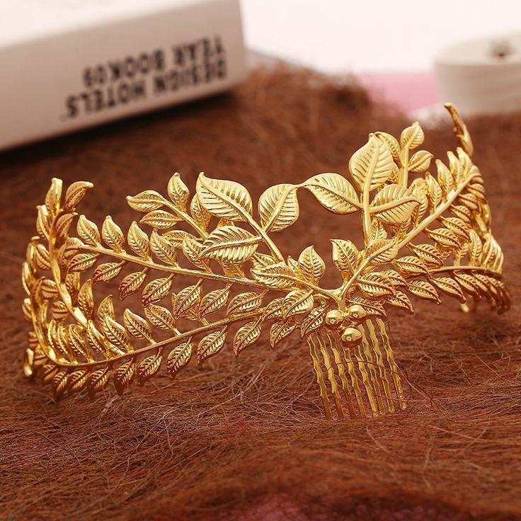 Nieuwe ontwerp bridal haar sieraden vintage haar kam gold bladeren crown leaf bruiloft accessoires groothandel vrouwen hoofddeksel