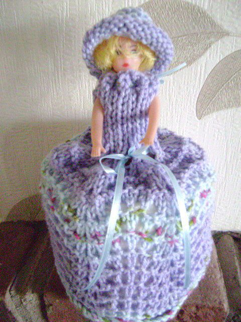 Hand Knitted Lilac /Blue Doll Toilet Roll Cover