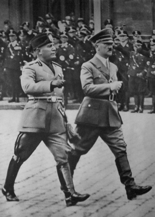 Adolf Hitler and Benito Mussolini - Two of the harshest and most controlling leaders.