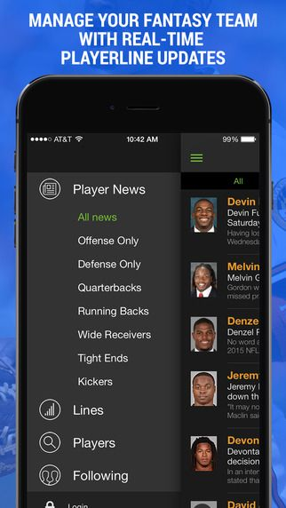 https://itunes.apple.com//us/app/fantasy-football-player-news/id324319768?mt=8 Still wasting time searching Rotoworld, ESPN, Bleacher Report and other news sources to manage your fantasy sports team?