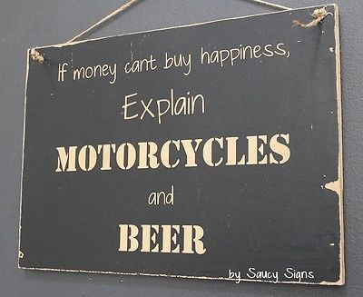 Motorcycles and Beer Sign - Biker Shed Bar Garage Man Cave Wooden BBQ Moto GP